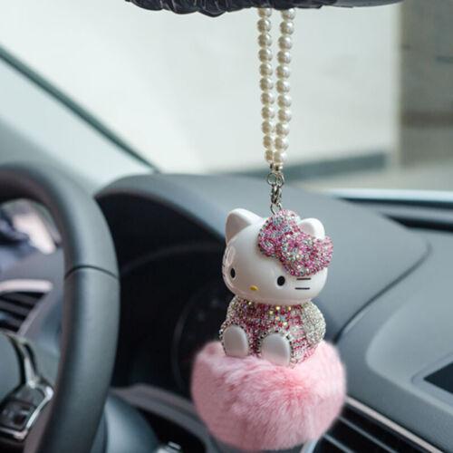 Cute Rhinestone Crystal Hello Kitty Auto Car Pendant Pompom Real Fur