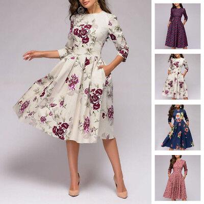 Autumn Spring Vintage Dress Women Retro Tunic Long Sleeved Print Floral Dresses