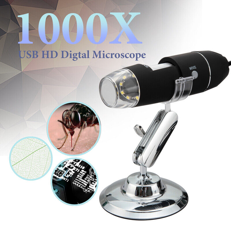 8 LED 1000X USB Microscope Endoscope Magnifier Digital Video Camera Microscopio