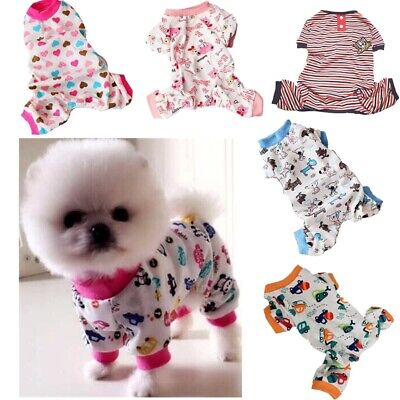 Puppy Pet Dog Cat Clothes Pajamas Jumpsuit Cute Outfit Sleepwear Shirt Apparel
