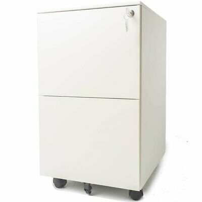 Pemberly Row 2 Drawer Locking Filing Cabinet In White