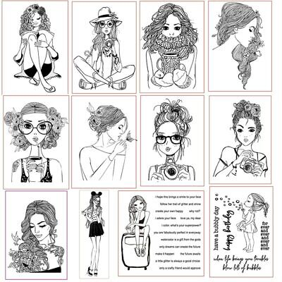Girl Christmas Clear Stamps for DIY Scrapbooking Craft Card Transparent Stempels ()