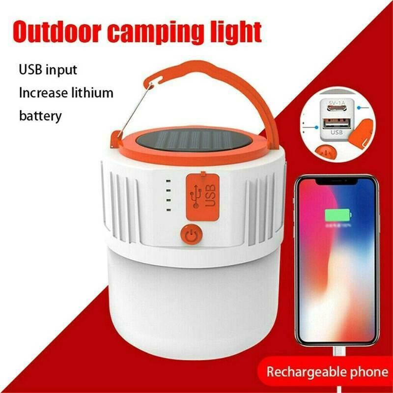 Solar Power 24LED Camping Lamp Torch Rechargeable Power Bank Tent Light Out dy*