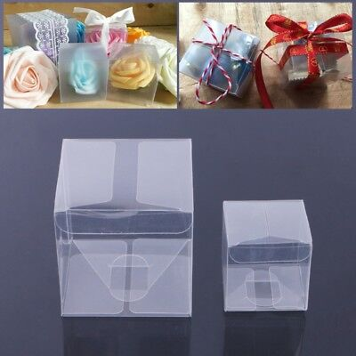 10 Clear Transparent PVC Cube Chocolate Sweets Cup Cake Wedding Favour Gift Box