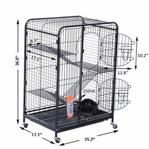 """NEW* 4 Level Black Metal Pet Cage 37""""H, 2 Doors with bottom tray London Ontario image 1"""