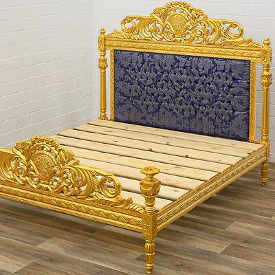 ROYAL BED, LUXUS SCHLAFZIMMER BETT, PARADEBETT, goldenes BAROCKSTIL DOPPELBETT