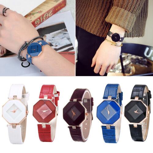 Damenuhr Quarz Großes Geometrie Uhrengehäuse Glitzeruhr Leder Armband Rund Uhr