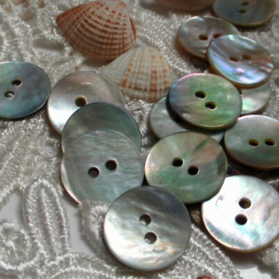 100PCS Natural Mother of Pearl Round Shell Sewing Buttons 10mm Craft Art