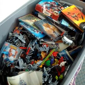 Bionicle toys/dvds/books in large bin