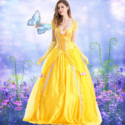 Funny Adult Princess Belle Costume Beauty and The Beast Halloween Dress Party US - Belle Beauty Beast Halloween Costume Adults
