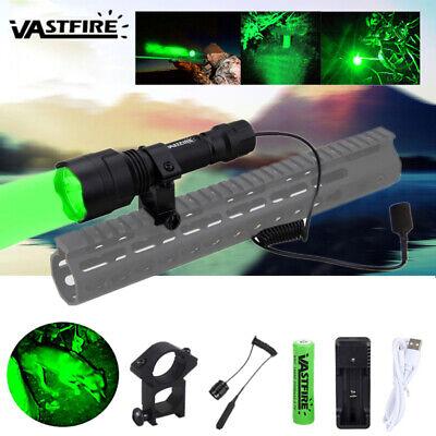 Tactical Green LED Hunting Predator Varmint Flashlight Picatinny Gun/Rifle Mount