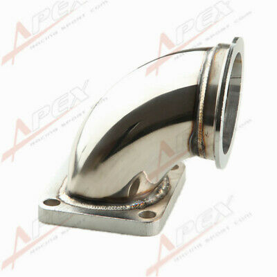 """STAINLESS STEEL 3.0"""" V-BAND T4 TURBO EXHAUST 90 DEGREE ELBOW ADAPTER FLANGE"""