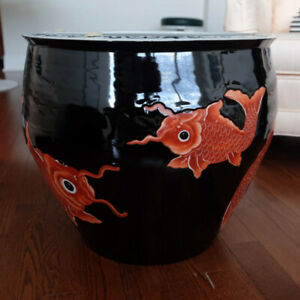 Chinese motif (koi fish) large planter/egg jar/table