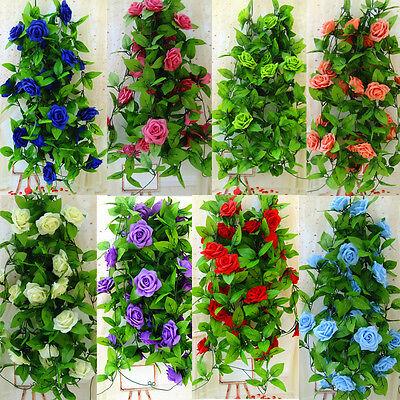 US 2.6M Silk Flower Garland Artificial Vine Ivy Home Wedding Garden Floral Decor