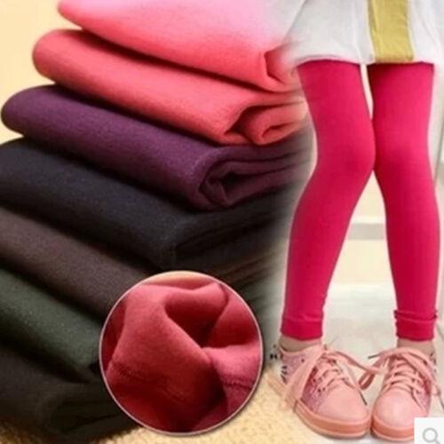 Kids Girls Winter Warm Fleece Lined Leggings Stretchy Therma