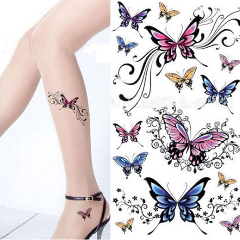 Beauty Removable Waterproof Temporary Tattoo Butterfly  Body Art Sticker Colors