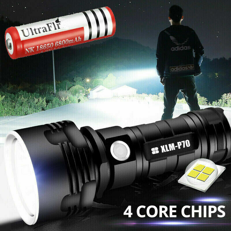 Shadowhawk Super-bright 90000lm Flashlight LED P70 Tactical Torch + battery Camping & Hiking