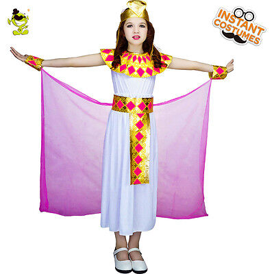 Girls Cleopatra Costumes Kids Noble Egypt Queen Role Play Fancy Dress for Party