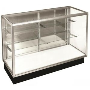 man cave , garage glass cabinet with shelves