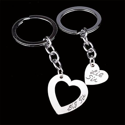 2 Piece Sister Keychain Set Charm Pendant Big Sis Little Sis Key Ring  Kc56