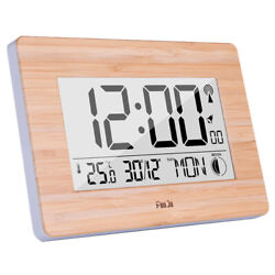 Digital Wall Clock Lcd Big Large Number Time Temperature Calendar Alarm Ta S1C0