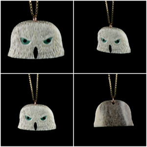 Handmade Owl Talisman made from Elk Antler and Stone
