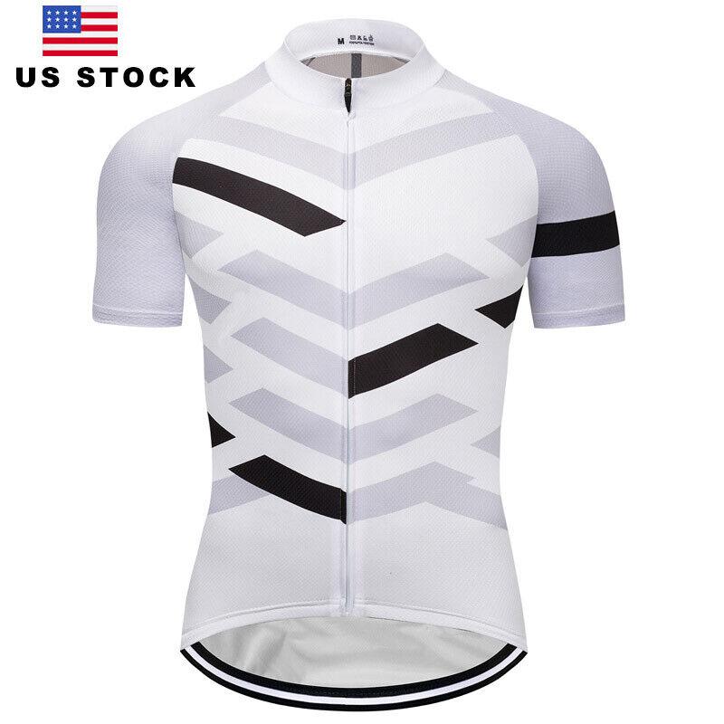 Men's Bike Cycle Jerseys Short Sleeve Cycling Shirt White Bi