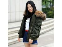 DAYMISFURRY--New Waterproof Bomber Army Green Base With Faux Fur Lining And Raccoon Fur Hood