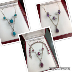 Sterling Silver Set with Real Gem Stones