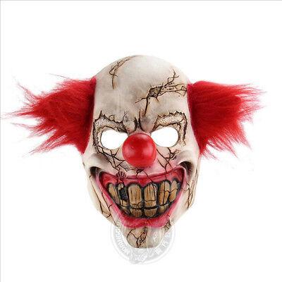 Scary Clown Maske Halloween Latex mit roten Haaren Böse Horror-Kostüm-Zubehör