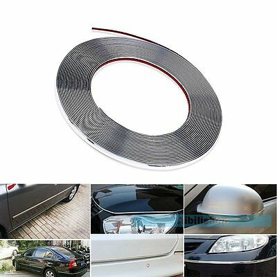 15M 8mm Car Chrome DIY Moulding Trim Strip For Door Window Bumper Grille【UK】