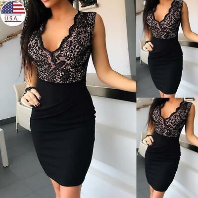 Women V-Neck Bodycon Dress Ladies Party Slim Fit Sleeveless Mini Dress Clubwear
