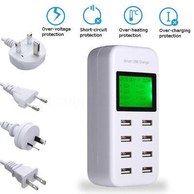 8 Port 5V/8A USB Charging Power Strip Adapter Wall Travel Desktop Charger Hub