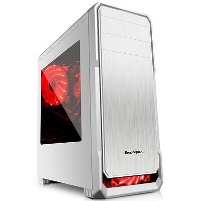 ATX Mid Tower Computer Gaming Desktop PC Window Case 120mm LED Fans USB 3.0 2.0