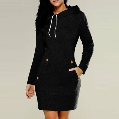 Fashion Women Casual Dress Long Sleeve Hoodie Hooded Jumper Pockets Sweater Tops
