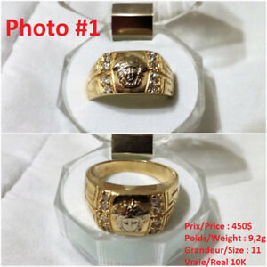 Bague homme OR 10K/14K Versace Medusa men gold ring