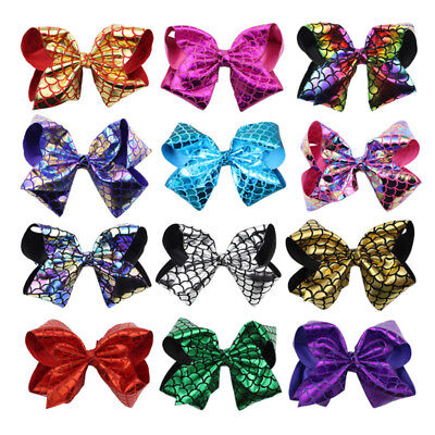 8 inch Big Large Mermaid Scale Hair Bow Alligator Clips Girls Hair Accessories