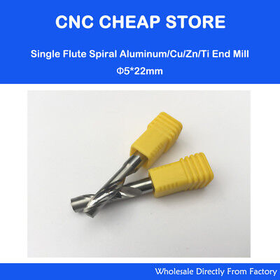 2pc Single Blade Aluminium Cutting Single Flute Cnc Router Bits Shk 5mm Cel 22mm