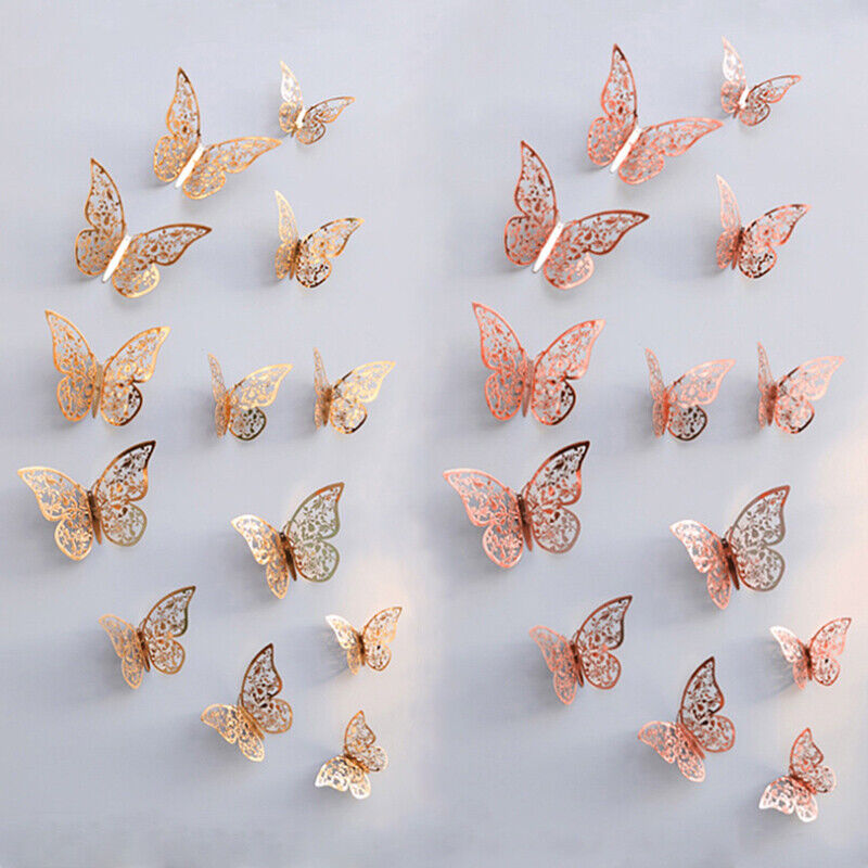 Home Decoration - 12pcs 3D Butterfly Wall Stickers Metallic Art Decals Home Room Decorations Decor