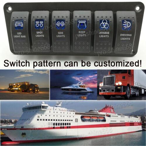Boat RV Switch Panel 6 Gang LED Rocker Switch Circuit Breakers Waterproof 12V b