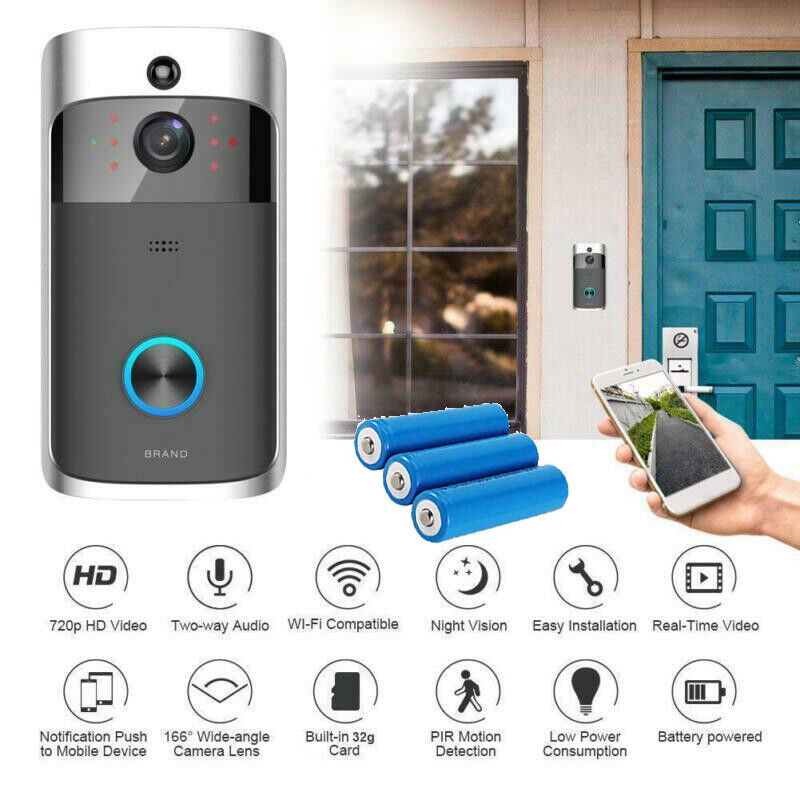 Smart Wireless WiFi Video Doorbell Phone Door Ring Intercom Security Camera Bell