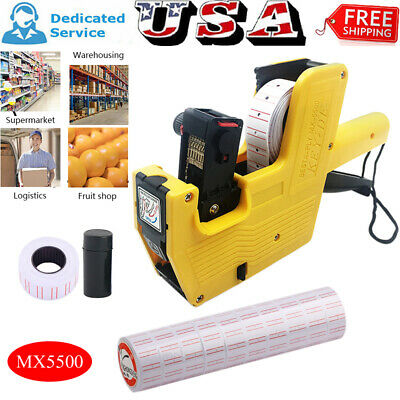 Handheld Mx5500 Eos 8 Digits Price Tag Gun Labeller Ink Roller Or Labels Or Set