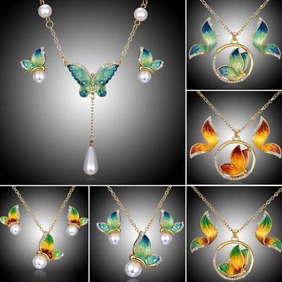 Women Wedding Butterfly Crystal Pearl Pendant Necklace Earrings Jewelry Sets New