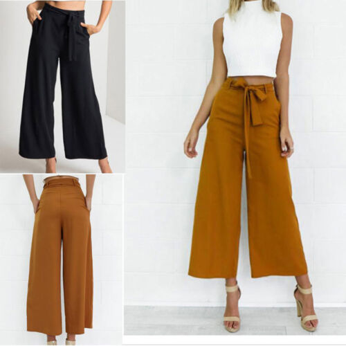 Fashion Womens Palazzo Pants High Waist Wide Leg Culottes Long Trousers Casual H