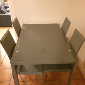 REDUCED REDUCED REDUCED!!!!!Glass and metal dining table