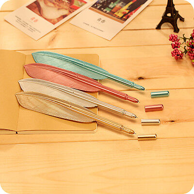5Pcs Set Cute Wing Feather Ballpoint Ink Pens Creative Stationery Student Gift