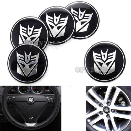 5pcs Car Rim Center Steering Wheel Hub Cap Decal Sticker