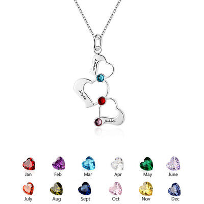 Personalised Family Name Birthstone Necklace Heart Love Pendant Mothers Day Gift