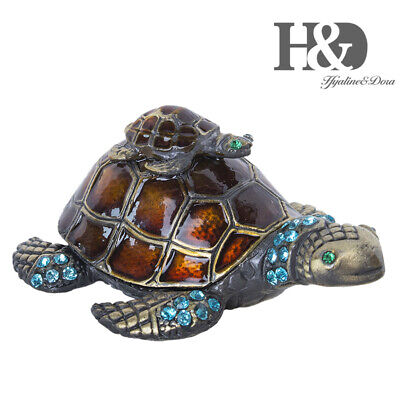 Turtle Trinket Jewelry Box with Sparkling Crystal Hinged Trinket Box Ring Holder ()