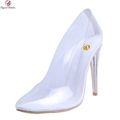 Women High Heels Pumps Round Toe slim Transparent Sexy Club Shoes Plus Size 4-15 - Size 15 High Heels Womens